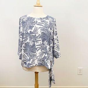 Talbots Blue/White Tropical Print Side-tie Top 18W